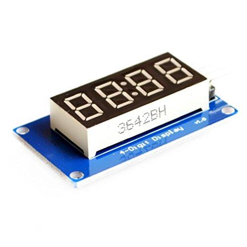 4位元數碼管顯示模組 LED亮度可調 帶時鐘點 TM1637驅動