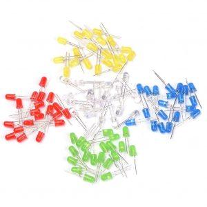 透明 5mm LED 發光二極管 綜合包 (紅白綠藍黃) 每色10隻