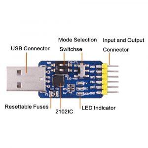 CP2102 六合一多功能串口模組 USB TTL 485 232自由互轉 3.3V/5V