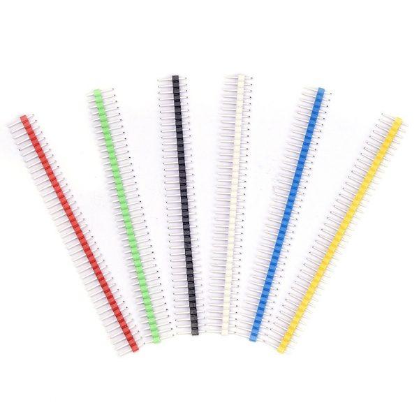 彩色排針 2.54 間距 1*40P 單排直針 六色一包