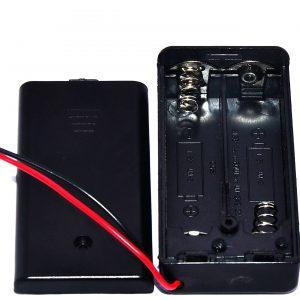 2x 2A 2節 3號電池座(AA)3V 電池座帶開關與電池座蓋 串聯 帶開關帶蓋子