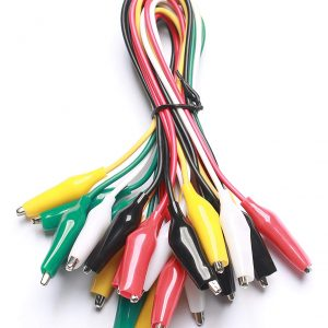 彩色鱷魚夾測試線50CM長 紅黑黃綠白各2條 雙頭維修導線10條