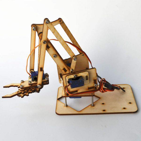 4自由度 木製機械手臂機械爪套件 適用SG90 MG90S Arduino樹莓派 套件不含舵機