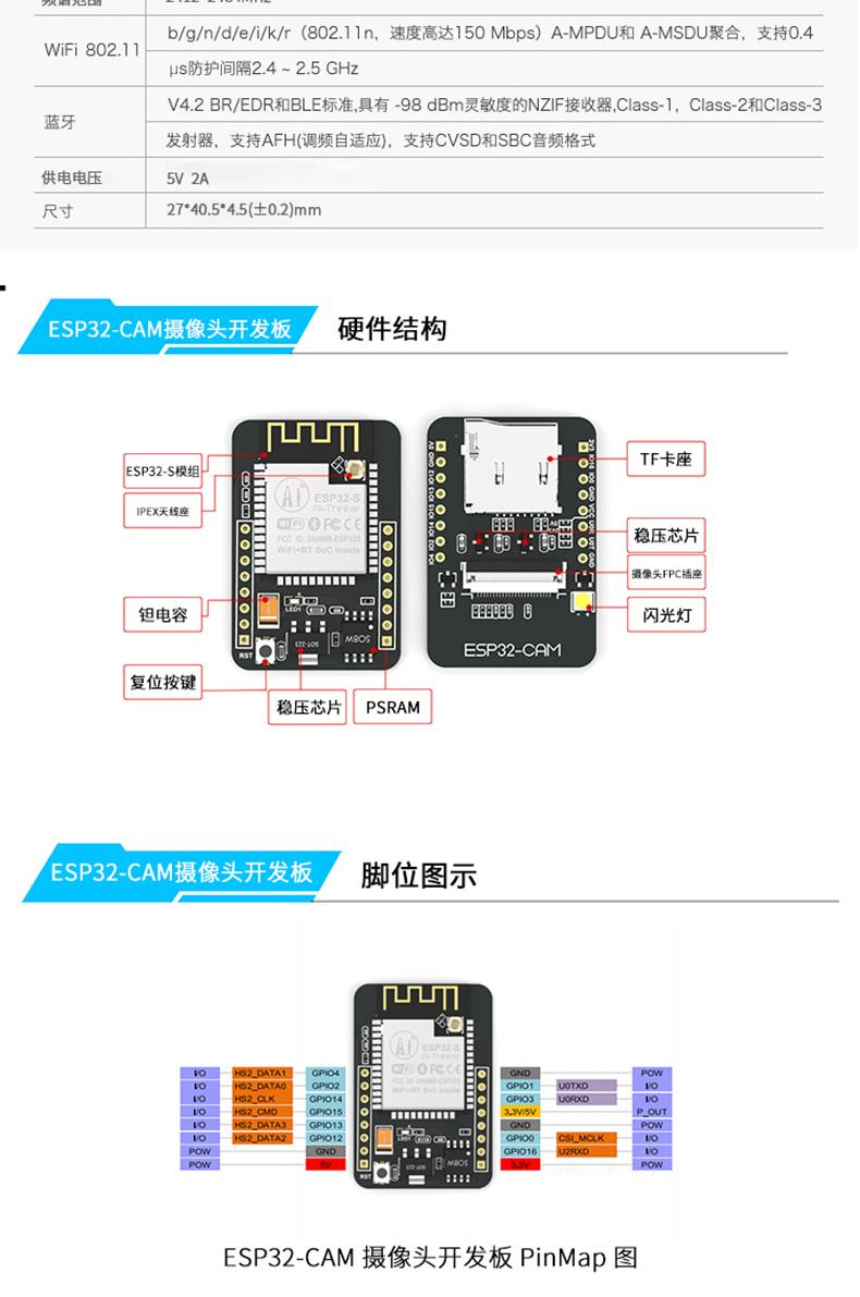 ESP32-CAM 攝像頭開發板
