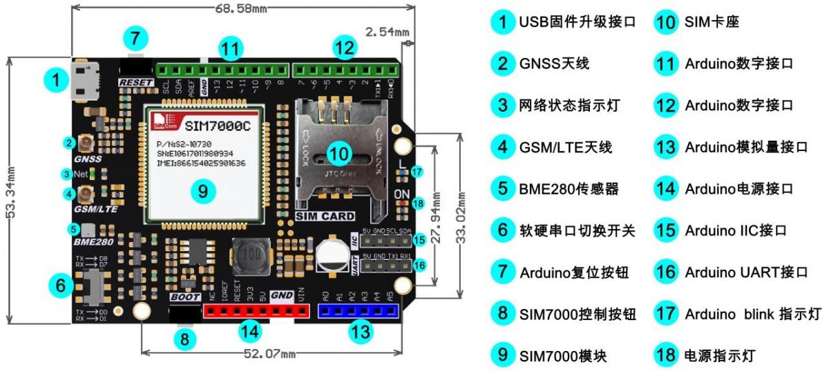 Arduino SIM7000C NB-IoT/LTE/GPRS 4G 通訊擴展板