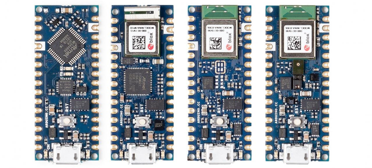 新的Arduino Nano系列; Nano Every(最左側),Nano 33 IoT(左側),Nano 33 BLE(右側)和Nano 33 BLE Sense(最右側)。 (📷:Arduino的)