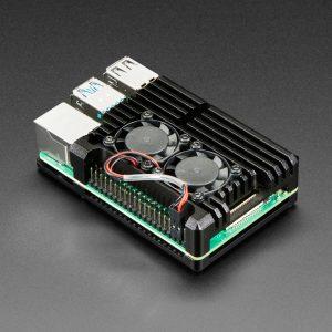 樹莓派金屬 4代 外殼Raspberry Pi 4 代 b+ 鋁金屬散熱器外殼,帶雙風扇