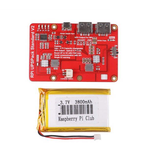 樹莓派UPS 鋰電池擴展板 不間斷電源 電量顯示 自恢復保護電源