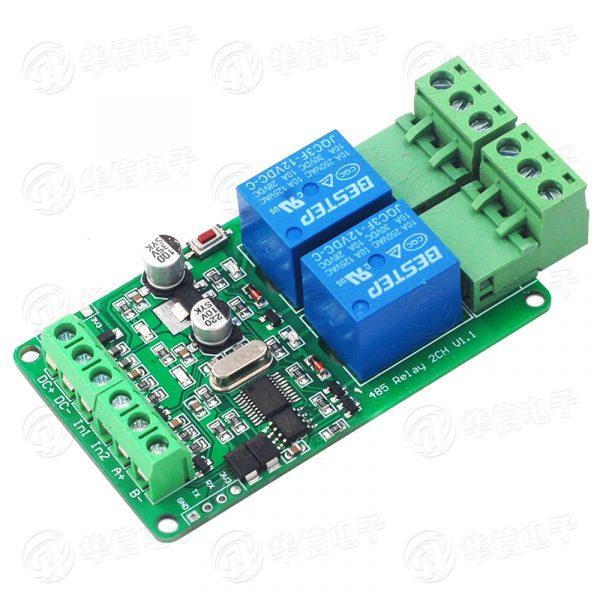 Modbus RTU  RS485 2路 12V 繼電器模組 2路輸入 帶光耦隔離 支援 Arduino