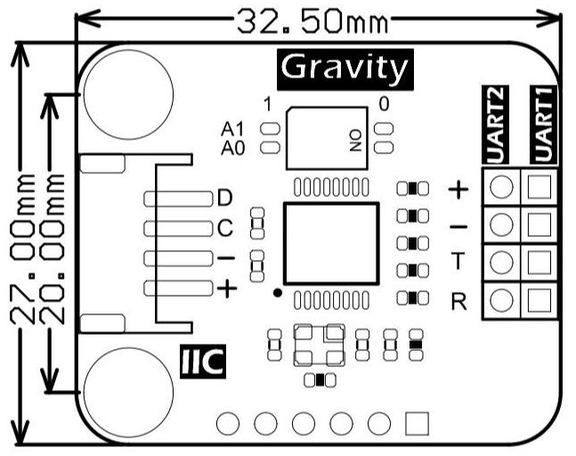 Gravity: IIC 轉串口模組 支援串聯最多可拓展出8個串口,每個子串口收發獨立,通信速率達2M bps的轉接板